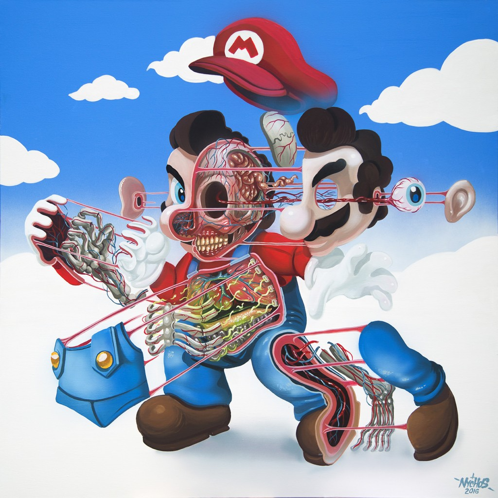 Nychos -  <strong>Dissection of Supermario </strong> (2016<strong style = 'color:#635a27'></strong>)<bR /> acrylic on canvas, 48 x 48 inches, (121.9 x 121.9 cm)