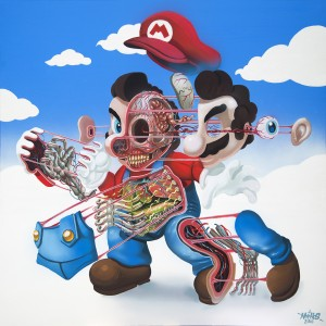Nychos -  <strong>Dissection of Supermario </strong> (2016<strong style = 'color:#635a27'></strong>)<bR /> acrylic on canvas, 48 x 48 inches, (121.9 x 121.9 cm)   $6,500