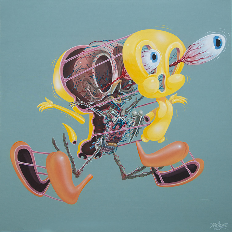 Nychos -  <strong>Dissection of Tweety</strong> (2016<strong style = 'color:#635a27'></strong>)<bR /> acrylic on canvas, 36 x 36 in. (91.4 x 91.4 cm)