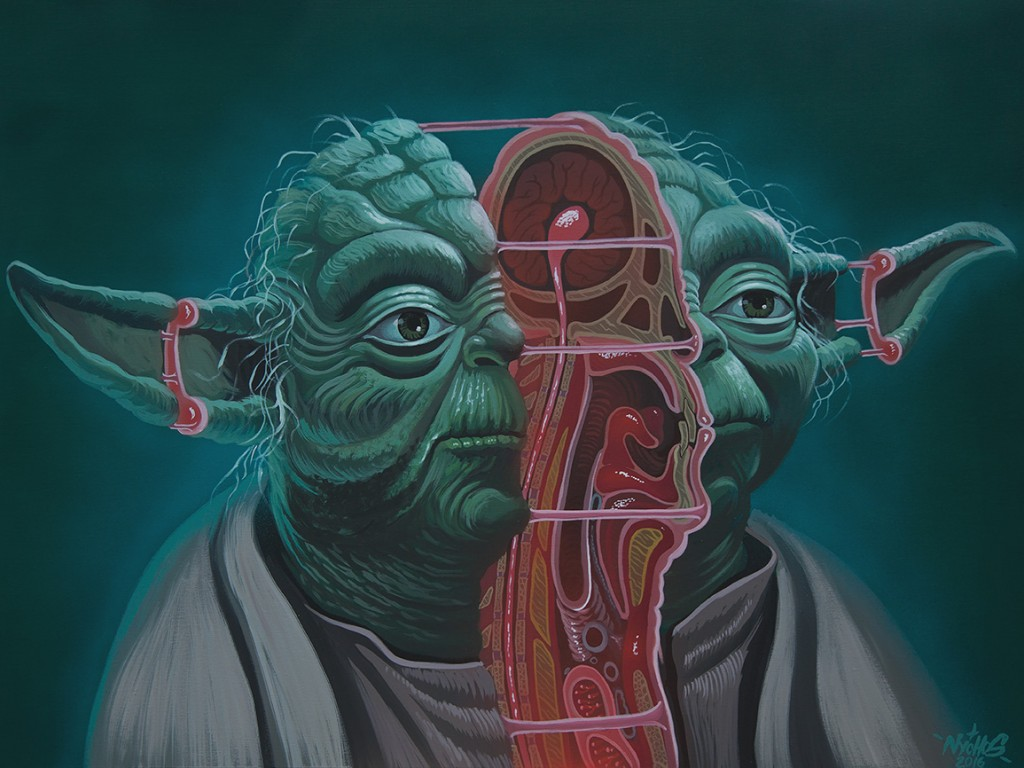 Nychos -  <strong>Dissection of Yoda</strong> (2016<strong style = 'color:#635a27'></strong>)<bR /> acrylic on canvas, 36 x 48 in. (91.4 x 121.9 cm)