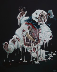 Nychos -  <strong>Marshmallow Meltdown</strong> (2016<strong style = 'color:#635a27'></strong>)<bR /> acrylic on canvas, 60 x 48 inches, (152.4 x 121.9 cm)   $7,500