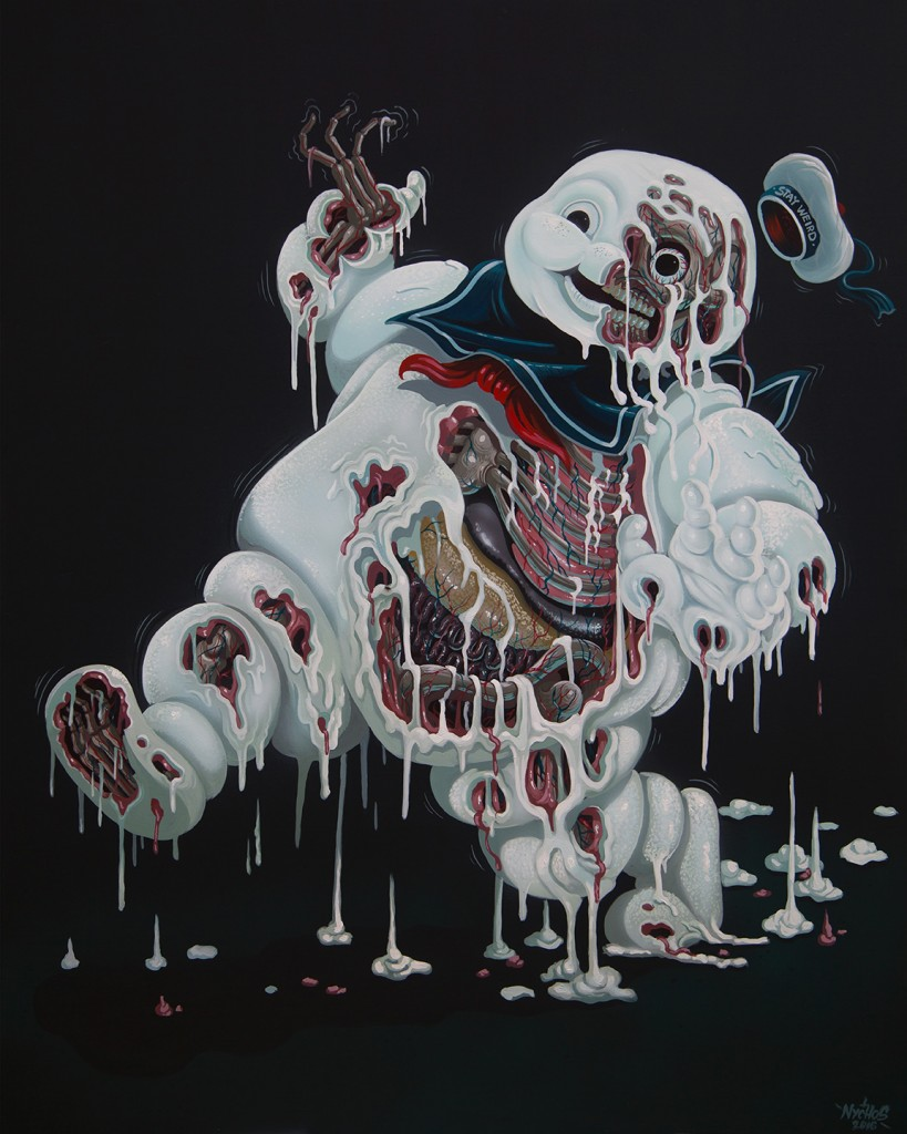 Nychos -  <strong>Marshmallow Meltdown</strong> (2016<strong style = 'color:#635a27'></strong>)<bR /> acrylic on canvas, 60 x 48 inches, (152.4 x 121.9 cm)