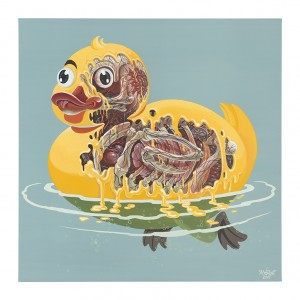 Nychos -  <strong>Rubber Ducky Meltdown</strong> (2016<strong style = 'color:#635a27'></strong>)<bR /> acrylic on canvas, 39.4 x 39.4 in. (100 x 100 cm) $5,500