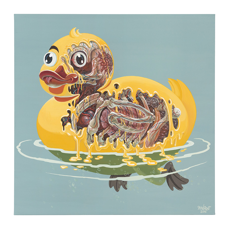 Nychos -  <strong>Rubber Ducky Meltdown</strong> (2016<strong style = 'color:#635a27'></strong>)<bR /> acrylic on canvas, 39.4 x 39.4 in. (100 x 100 cm)
