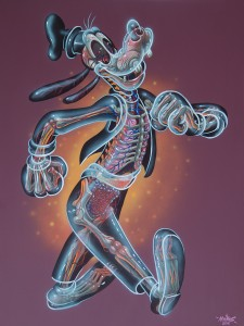 Nychos -  <strong>Translucent Goofy</strong> (2016<strong style = 'color:#635a27'></strong>)<bR /> acrylic on canvas, 36 x 48 in. (91.4 x 121.9 cm)   $6,000