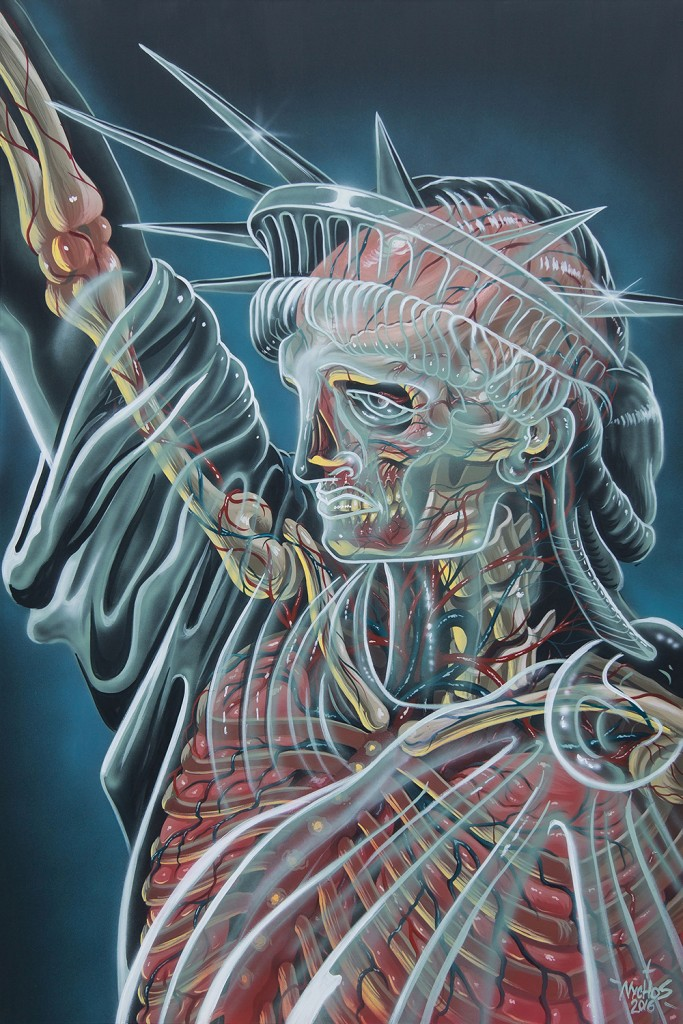 Nychos -  <strong>Translucent Liberty</strong> (2016<strong style = 'color:#635a27'></strong>)<bR /> acrylic on canvas,  72 x 48 in. (182.9 x 121.9 cm)