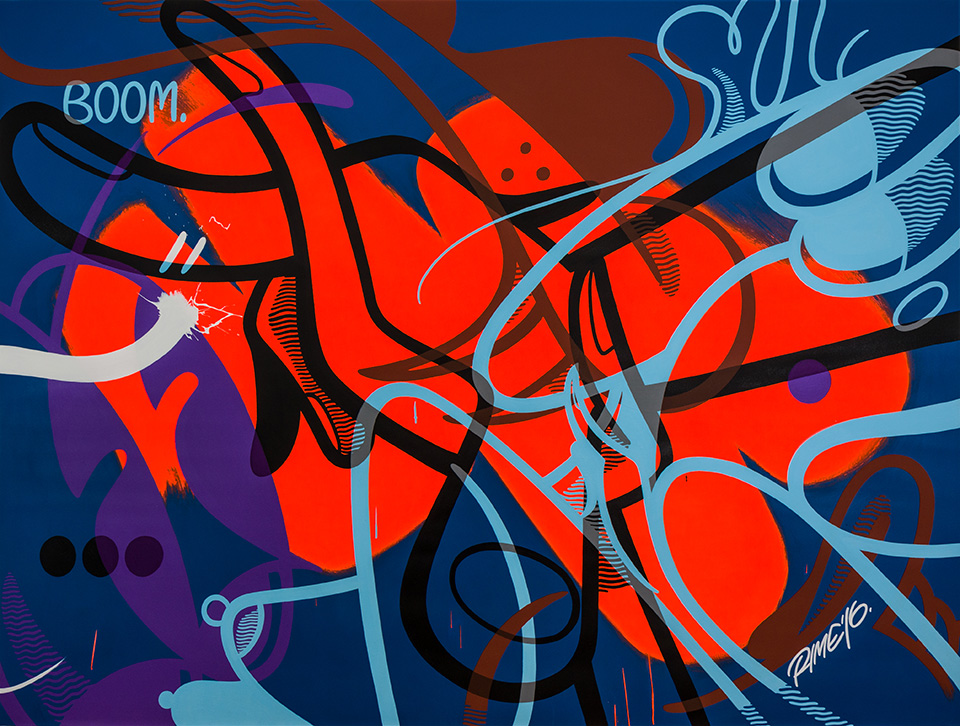 RIME -  <strong>Boom</strong> (2016<strong style = 'color:#635a27'></strong>)<bR /> acrylic on canvas, 72 x 95 inches (182.9 x 241.3 cm)
