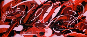 RIME -  <strong>Hold Out We Got This</strong> (2016<strong style = 'color:#635a27'></strong>)<bR /> acrylic and oil stick on linen, 26 x 60 inches (66 x 152.4 cm)