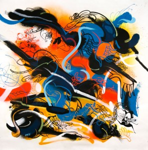 RIME -  <strong>Son, Push Hard in the Force Play</strong> (2016<strong style = 'color:#635a27'></strong>)<bR /> acrylic and oil stick on canvas, 59 x 58 inches (149.9 x 147.3 cm)