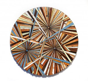 Roddy Wildeman -  <strong>Composite Memory Tri-Burst (NJ Shore Towns)</strong> (2014<strong style = 'color:#635a27'></strong>)<bR /> reclaimed materials on plywood, 46 inches diameter $16,500
