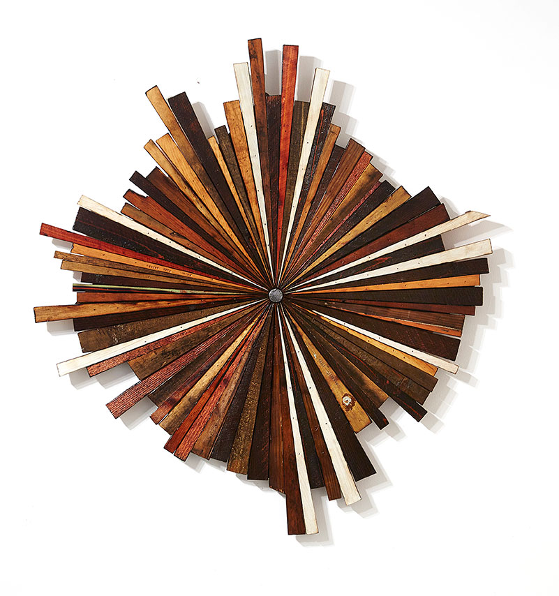 Roddy Wildeman -  <strong>Composite Memory Wild-Burst (Asbury Park NJ)</strong> (2015<strong style = 'color:#635a27'></strong>)<bR /> reclaimed debris on plywood, 42 x 38 inches