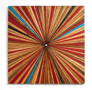 Roddy Wildeman -  <strong>Composite Memory Starburst (Ocean Grove NJ)	</strong> (2015<strong style = 'color:#635a27'></strong>)<bR /> reclaimed materials on plywood, 45 x 45 inches $6,500
