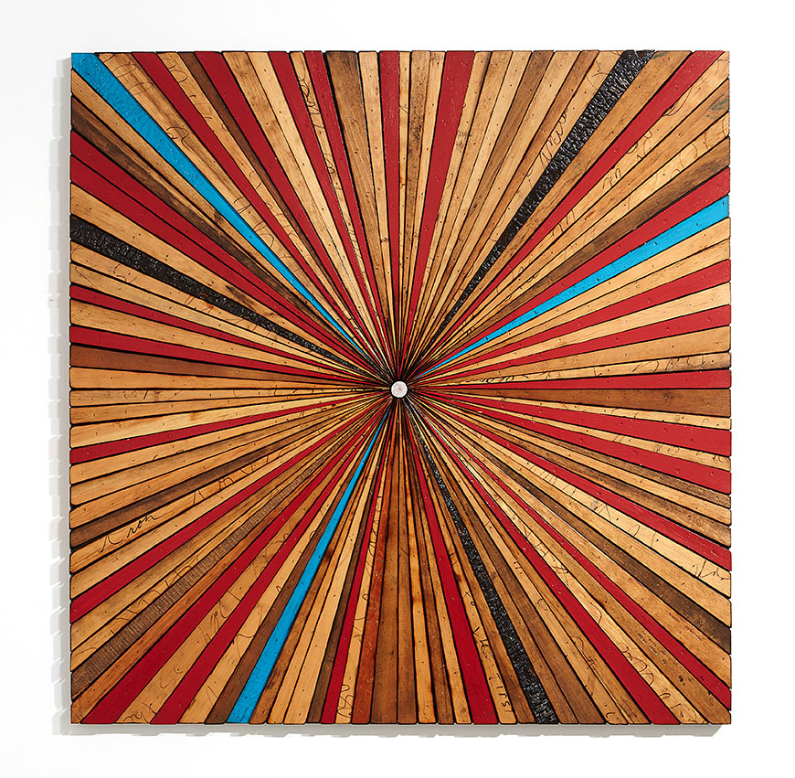 Roddy Wildeman -  <strong>Composite Memory Starburst (Ocean Grove NJ)	</strong> (2015<strong style = 'color:#635a27'></strong>)<bR /> reclaimed materials on plywood, 45 x 45 inches