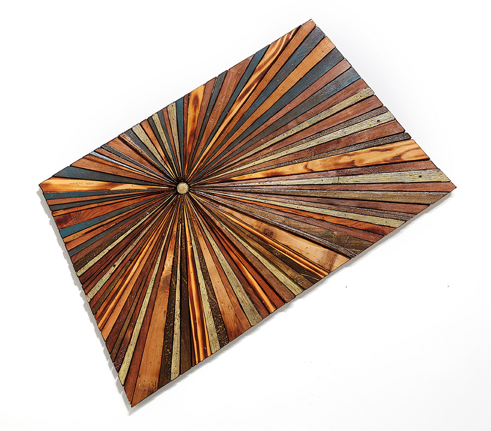 Roddy Wildeman -  <strong>Composite Memory Starburst (Asbury Park NJ)</strong> (2015<strong style = 'color:#635a27'></strong>)<bR /> reclaimed materials on plywood, 22 x  37 inches