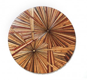 Roddy Wildeman -  <strong>Composite Memory Bi-Burst (Asbury Park NJ)</strong> (2014<strong style = 'color:#635a27'></strong>)<bR /> reclaimed materials on plywood, 46 inches diameter $11,000