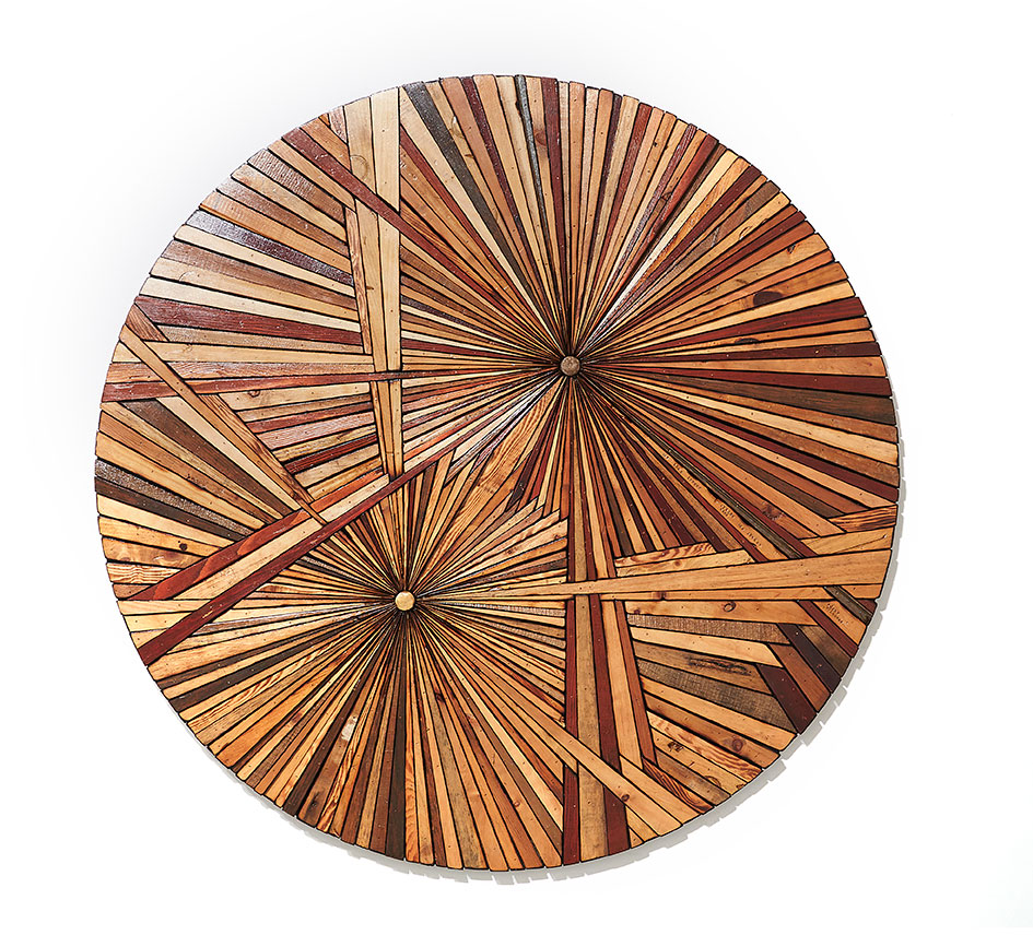 Roddy Wildeman -  <strong>Composite Memory Bi-Burst (Asbury Park NJ)</strong> (2014<strong style = 'color:#635a27'></strong>)<bR /> reclaimed materials on plywood, 46 inches diameter
