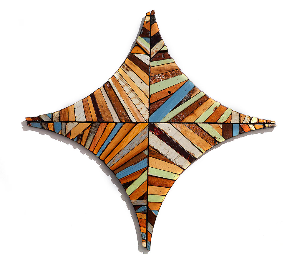 Roddy Wildeman -  <strong>Composite Memory Star-Cross (NJ Shore Towns)</strong> (2014<strong style = 'color:#635a27'></strong>)<bR /> reclaimed materials on plywood, 42 x 42 inches
