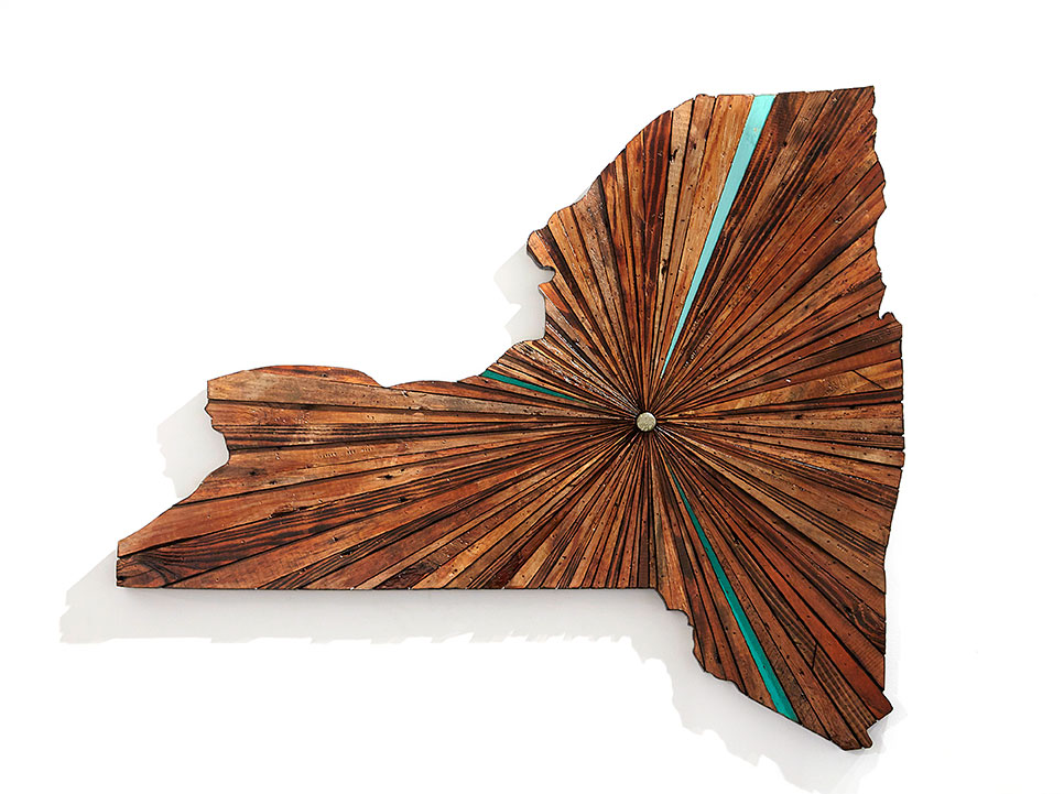 Roddy Wildeman -  <strong>Composite Memory Starburst NY State (Harlem NYC)</strong> (2016<strong style = 'color:#635a27'></strong>)<bR /> reclaimed materials on plywood, 39 x 46 inches
