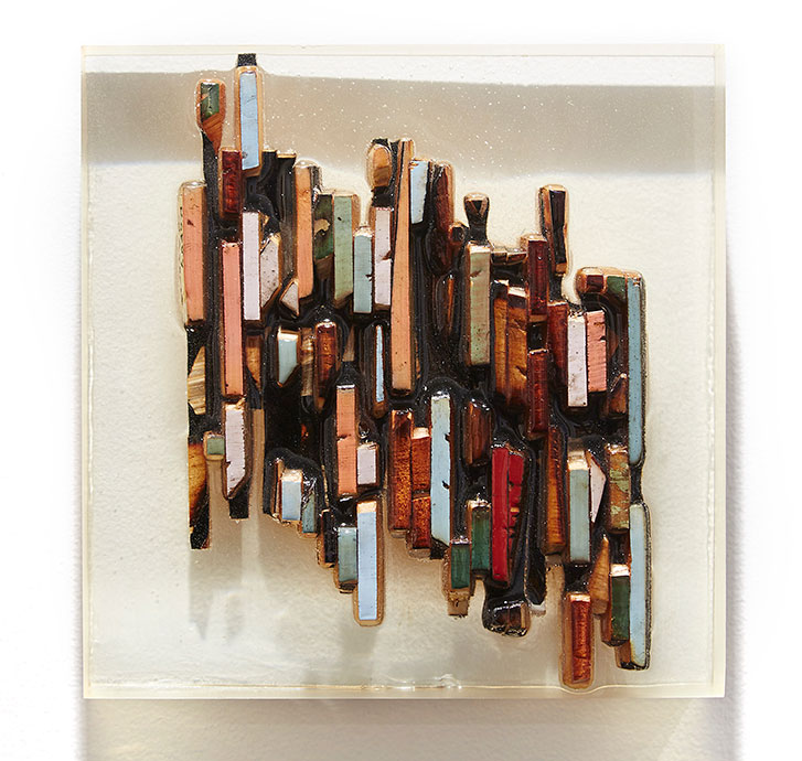 Roddy Wildeman -  <strong>Composite Memory Pixels</strong> (2015<strong style = 'color:#635a27'></strong>)<bR /> recycled wood in bio-resin, 8.5 x  8.5 inches