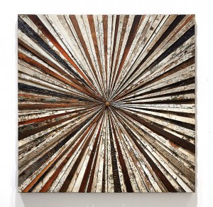 Roddy Wildeman -  <strong>Composite Memory Starburst (Ocean Grove NJ)</strong> (2015<strong style = 'color:#635a27'></strong>)<bR /> reclaimed materials on plywood, 45 x 45 inches 6,500