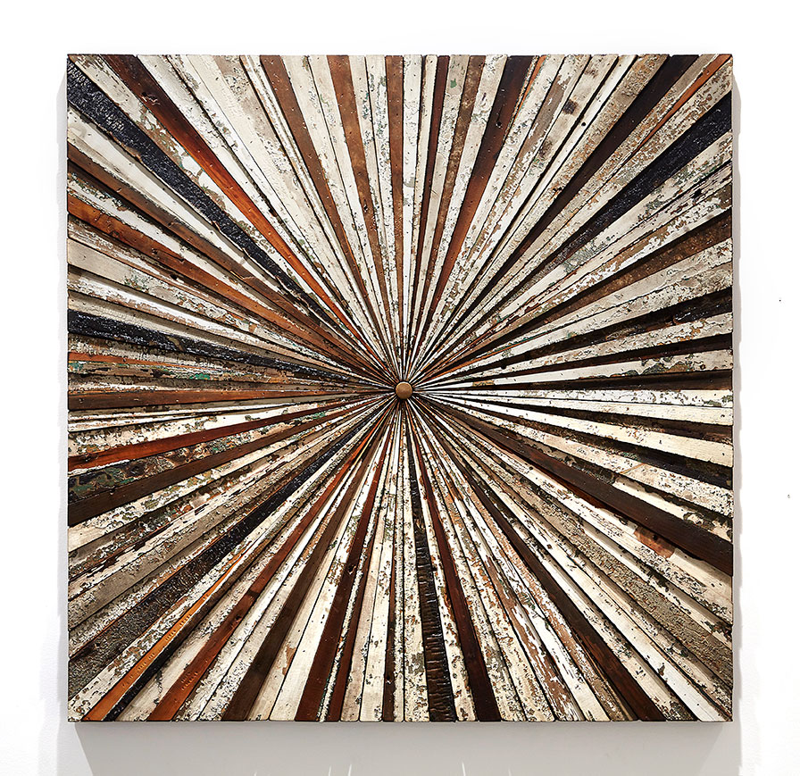 Roddy Wildeman -  <strong>Composite Memory Starburst (Ocean Grove NJ)</strong> (2015<strong style = 'color:#635a27'></strong>)<bR /> reclaimed materials on plywood, 45 x 45 inches
