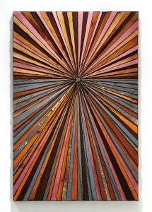 Roddy Wildeman -  <strong>Composite Memory Starburst (Asbury Park & Ocean Grove NJ)</strong> (2014<strong style = 'color:#635a27'></strong>)<bR /> reclaimed materials on plywood, 46 x 31 inches $6000