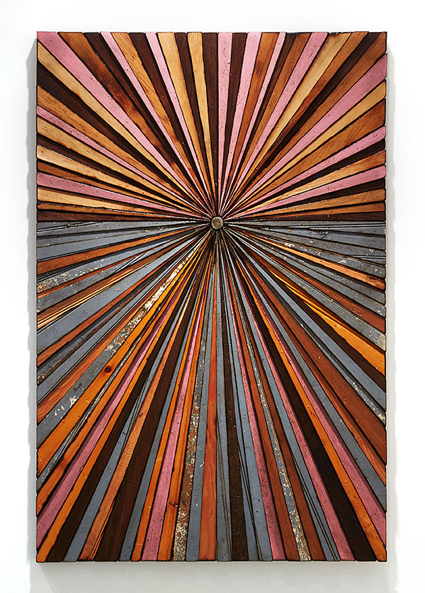 Roddy Wildeman -  <strong>Composite Memory Starburst (Asbury Park & Ocean Grove NJ)</strong> (2014<strong style = 'color:#635a27'></strong>)<bR /> reclaimed materials on plywood, 46 x 31 inches