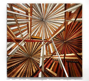 Roddy Wildeman -  <strong>Composite Memory Tri-Burst (Harlem NYC)</strong> (2016<strong style = 'color:#635a27'></strong>)<bR /> reclaimed materials on plywood, 59 x 59 inches $20,000