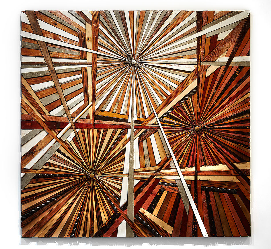 Roddy Wildeman -  <strong>Composite Memory Tri-Burst (Harlem NYC)</strong> (2016<strong style = 'color:#635a27'></strong>)<bR /> reclaimed materials on plywood, 59 x 59 inches
