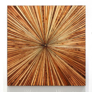 Roddy Wildeman -  <strong>Composite Memory Starburst (East River between 29th and 32nd Street NYC)</strong> (2014<strong style = 'color:#635a27'></strong>)<bR /> rescued materials on plywood, 47 x 46 inches $6,500