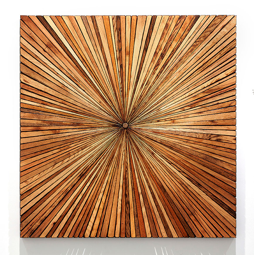 Roddy Wildeman -  <strong>Composite Memory Starburst (East River between 29th and 32nd Street NYC)</strong> (2014<strong style = 'color:#635a27'></strong>)<bR /> rescued materials on plywood, 47 x 46 inches