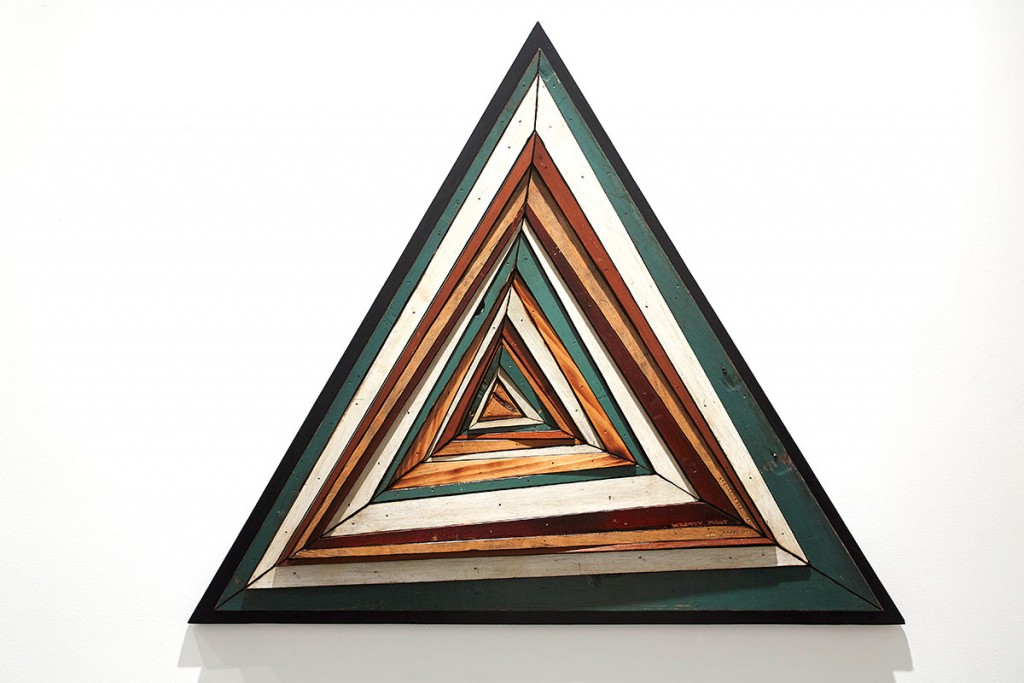 Roddy Wildeman -  <strong>Composite Memory Abstract Triangle (Asbury Park NJ)</strong> (2014<strong style = 'color:#635a27'></strong>)<bR /> reclaimed materials on plywood, 32 x 37 inches