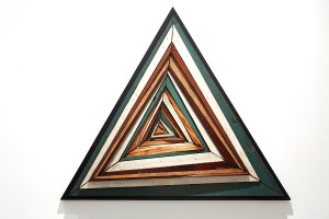 Roddy Wildeman -  <strong>Composite Memory Abstract Triangle (Asbury Park NJ)</strong> (2014<strong style = 'color:#635a27'></strong>)<bR /> reclaimed materials on plywood, 32 x 37 inches, $4,000