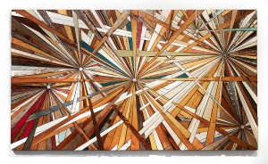 Roddy Wildeman -  <strong>Composite Memory Multi-Burst (Debris Collected after Hurricane Sandy From NJ Shore Towns)</strong> (2012<strong style = 'color:#635a27'></strong>)<bR /> rescued debris on plywood, 47 x 83 inches