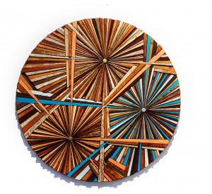 Roddy Wildeman -  <strong>Composite Memory Tri-Burst (NJ Shore Towns)</strong> (2015<strong style = 'color:#635a27'></strong>)<bR /> reclaimed materials on plywood, 46 inches diameter $16,500