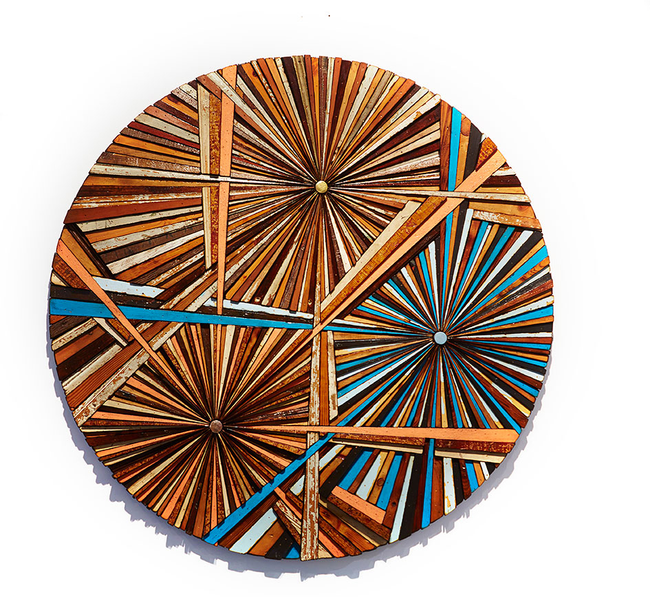 Roddy Wildeman -  <strong>Composite Memory Tri-Burst (NJ Shore Towns)</strong> (2015<strong style = 'color:#635a27'></strong>)<bR /> reclaimed materials on plywood, 46 inches diameter