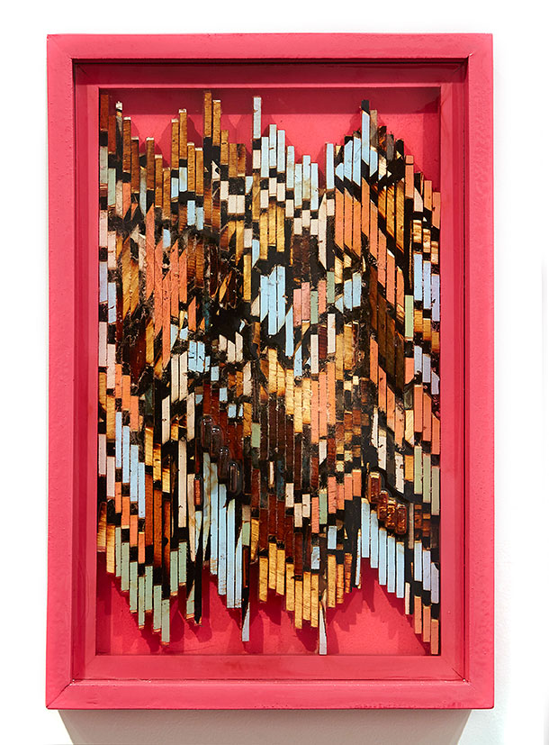 Roddy Wildeman -  <strong>Composite Memory Pixels</strong> (2015<strong style = 'color:#635a27'></strong>)<bR /> recycled wood in bio-resin, 20.5 x 13.5 inches