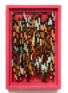 Roddy Wildeman -  <strong>Composite Memory Pixels</strong> (2015<strong style = 'color:#635a27'></strong>)<bR /> recycled wood in bio-resin, 20.5 x 13.5 inches $1,800