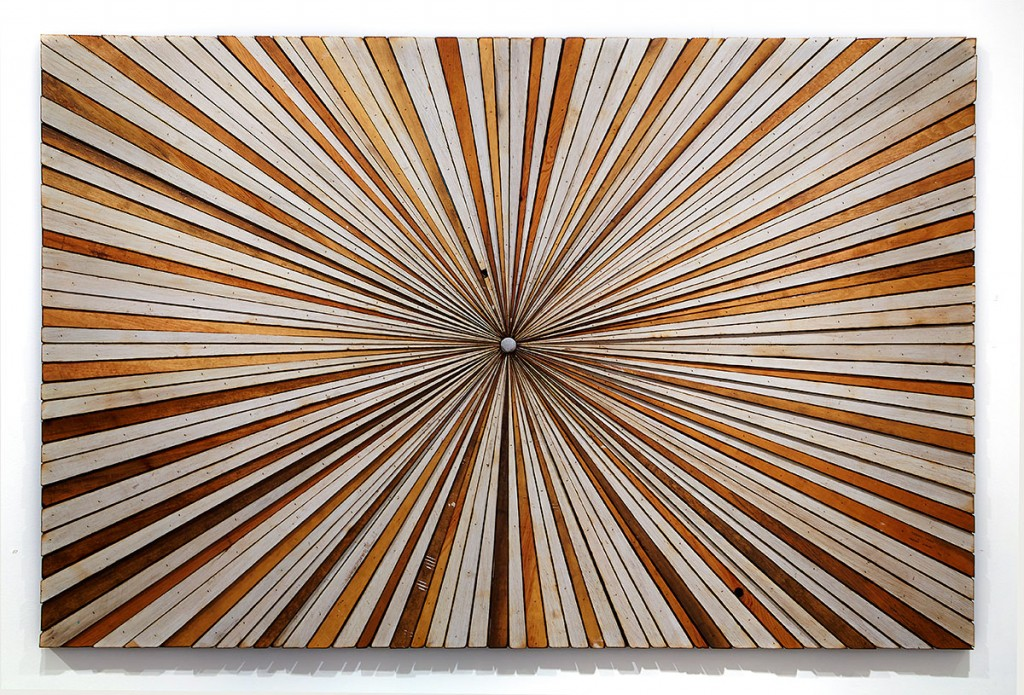 Roddy Wildeman -  <strong>Composite Memory Starburst (Ocean Grove & Asbury Park NJ)</strong> (2014<strong style = 'color:#635a27'></strong>)<bR /> reclaimed materials on plywood, 45 x 69 inches