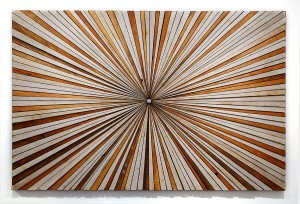 Roddy Wildeman -  <strong>Composite Memory Starburst (Ocean Grove & Asbury Park NJ)</strong> (2014<strong style = 'color:#635a27'></strong>)<bR /> reclaimed materials on plywood, 45 x 69 inches $8,500