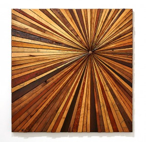 Roddy Wildeman -  <strong>Composite Memory Starburst (Brick NJ)</strong> (2015<strong style = 'color:#635a27'></strong>)<bR /> reclaimed materials on plywood, 45 x 45 inches $6,500