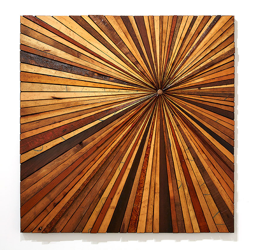 Roddy Wildeman -  <strong>Composite Memory Starburst (Brick NJ)</strong> (2015<strong style = 'color:#635a27'></strong>)<bR /> reclaimed materials on plywood, 45 x 45 inches