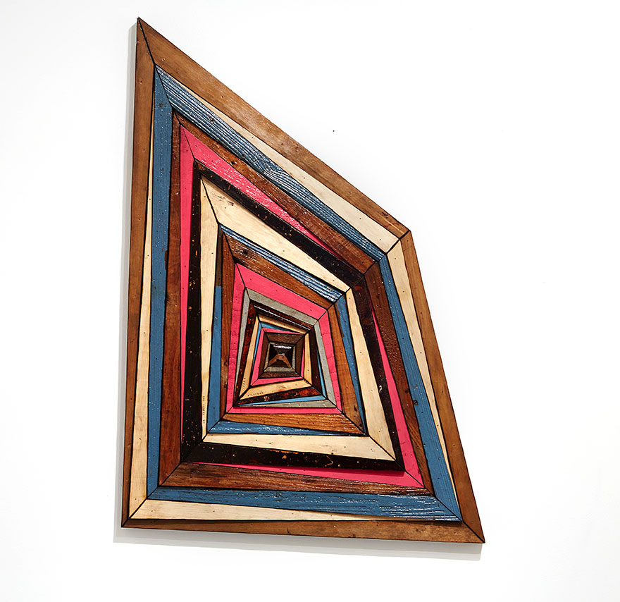 Roddy Wildeman -  <strong>Composite Memory Abstract Square (Sag Harbor NY)</strong> (2016<strong style = 'color:#635a27'></strong>)<bR /> reclaimed materials on plywood, 41 x 30 inches