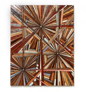 Roddy Wildeman -  <strong>Composite Memory Tri-Burst (Debris Collected after Hurricane Sandy From NJ Shore Towns)</strong> (2013<strong style = 'color:#635a27'></strong>)<bR /> rescued debris on plywood, 58 x 46 inches $18,000