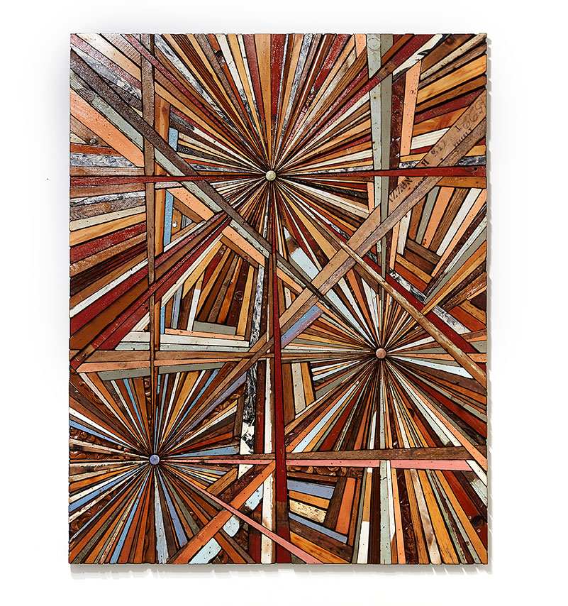 Roddy Wildeman -  <strong>Composite Memory Tri-Burst (Debris Collected after Hurricane Sandy From NJ Shore Towns)</strong> (2013<strong style = 'color:#635a27'></strong>)<bR /> rescued debris on plywood, 58 x 46 inches