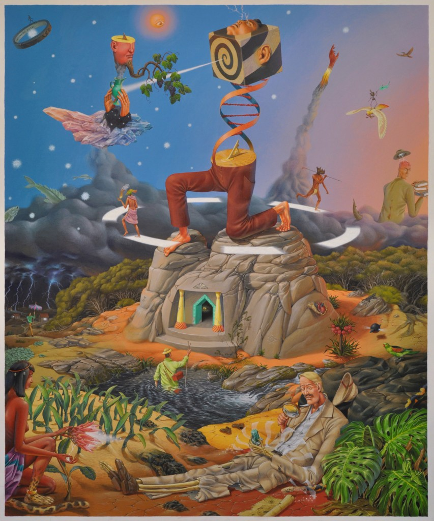 Interesni Kazki -  <strong>Temple of the Time (AEC)</strong> (2015<strong style = 'color:#635a27'></strong>)<bR />  acrylic on canvas,   77.2 x 63.8 inches  (196 x 162 cm)