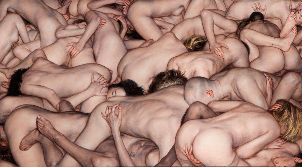 Dan Witz -  <strong>Small Orgy</strong> (2015<strong style = 'color:#635a27'></strong>)<bR /> oil on canvas, 21 x 37 inches (53.3 x 94 cm) framed