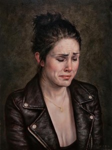 Dan Witz -  <strong>Anna (Sorrowing)</strong> (2016<strong style = 'color:#635a27'></strong>)<bR /> oil on canvas, 23 x 18 inches (58.4 x 45.7 cm) framed