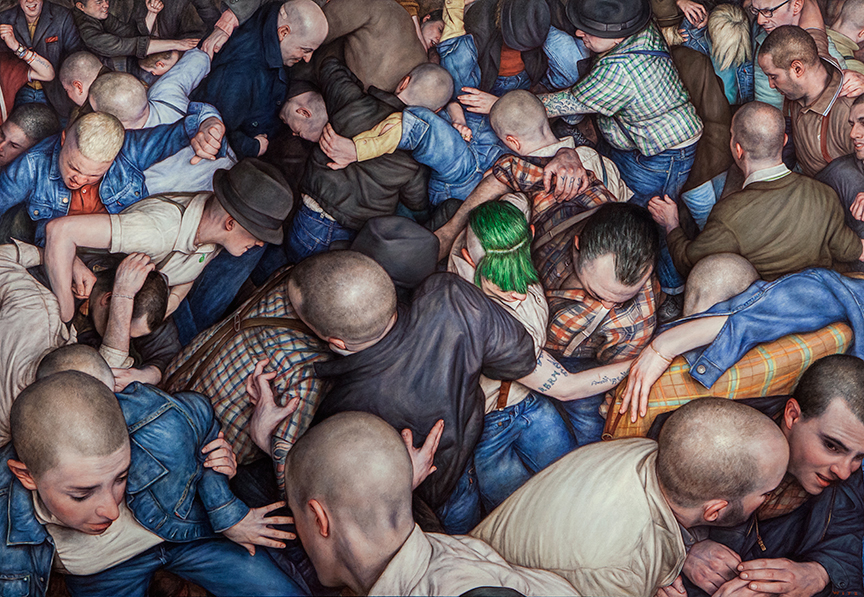 Dan Witz -  <strong>Byronesque 3</strong> (2015<strong style = 'color:#635a27'></strong>)<bR /> oil on canvas, 49 x 71 inches  (124.4 x 180.3 cm) framed