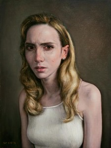 Dan Witz -  <strong>Jillian Dolorosa (Sorrowing)</strong> (2016<strong style = 'color:#635a27'></strong>)<bR /> oil on canvas, 23 x 18 inches (58.4 x 45.7 cm) framed